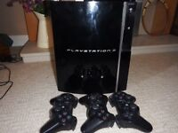 PS3 in great condition with bundle of games and 3 controllers