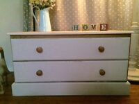 Solid pine 2 drawer shabby chic chest