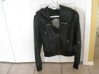 Danier Womens Leather Jacket with Hood - Small
