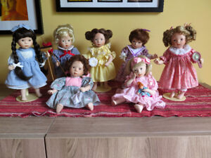 1990 FRANKLIN MINT Heirloom Collection - DAYS OF THE WEEK DOLLS