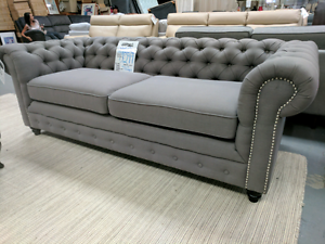 """Brand New """"Victoria"""" Chesterfield Grey Fabric 3 Seater Sofa Epping Whittlesea Area Preview"""