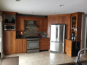 Cherry wood kitchen , granite tops , with large island