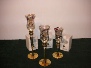 SOLID BRASS/LUCITE CANDLE HOLDERS