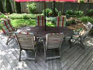 Solid teak outdoor dining set with six chairs