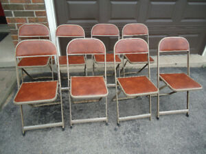 8 MATCHING VINTAGE FOLDING CHAIRS - $50 FOR THE SET