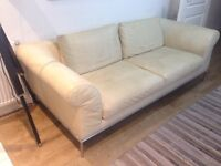 Gorgeous 3 Seater Leathers Sofa with Attoman, From Natuzzi Cream