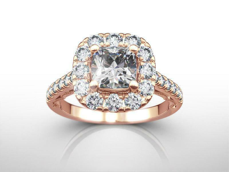 Diamond Halo Ring Vs1 14k Rose Gold Red 1.75 Carats Estate Certified Size 6 7 8