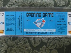 Toronto Blue Jays opening game 1977 Sealed ticket