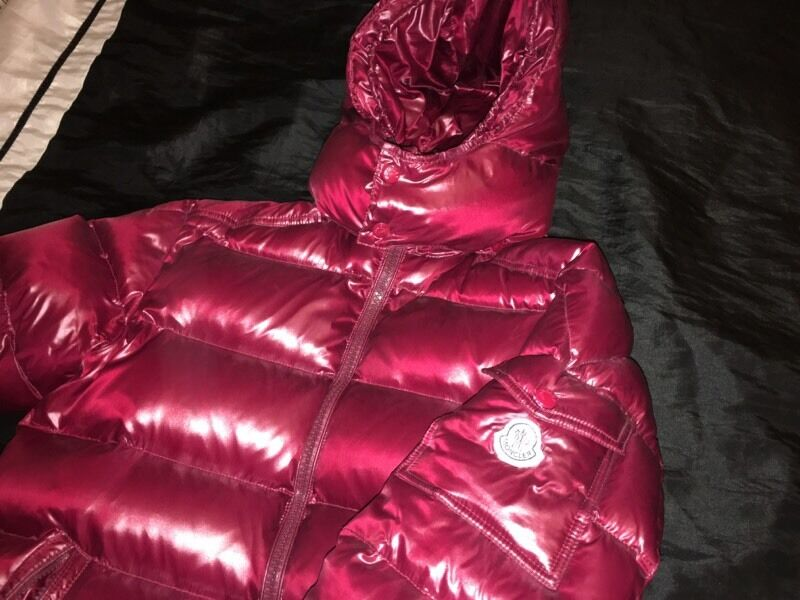red shiny moncler coat