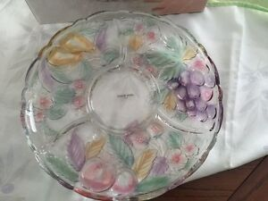 "Colorful crystal platter - 14"" diameter - perfect condition"