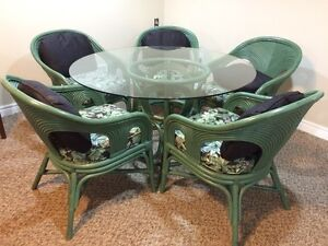 BAMBOO GLASS-TOP TABLE & 5 CHAIRS IN SAGE GREEN