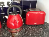 Breville red matching kettle and toaster set