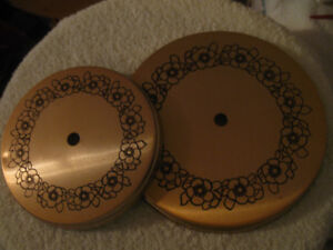 TWO DECORATIVE METAL ELECTRIC STOVE BURNER COVERS
