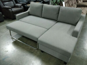 Sofa Bed with left or right facing chaise, in stock, NEW, grey