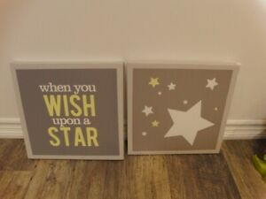 Kids baby Room Wall Art Prints (2 included Grey / Yellow Star)