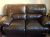 Sofa 2 seater dark brown leather