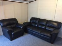 Harveys beautiful black full leather 3 & 1 sofas - can deliver