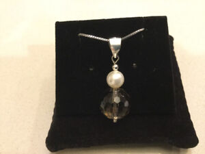 New, 925 Silver Smoky Topaz and Pearl Pendant