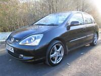 05/05 HONDA CIVIC TYPE-S 2.0 5DR HATCH IN MET BLACK WITH HONDA SERVICE HISTORY