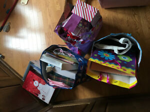 Gift bags, boxes, tissue