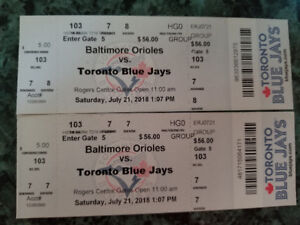 2 toronto blue Jay's  tickets july 21st section 103 row 7