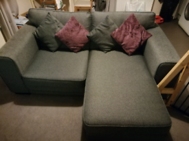 3 seater grey 'Angus' sofa with movable chaise