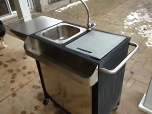 outdoor stainless steel kitchen cart on wheels