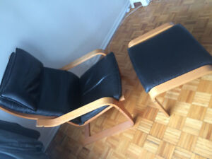 Ikea Poang chair & footstool black leather