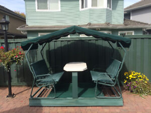 Outdoor Backyard Swing Seat With Table