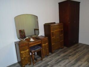 MATCHING ANTIQUE DRESSER/BOUDOIR TABLE+CHAIR AT SIX MILE