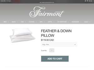 Brand new, Fairmont hotel king size feather & down pillow