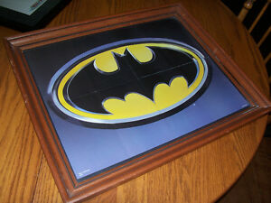 Framed Vintage Batman Symbol 18 by 22 This was an insert in a vi