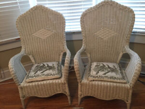 2 white wicker chairs, good condition