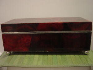 Last Chance! Footed Cracked Pen Shell Covered Jewelry Box
