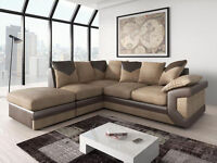 BRAND NEW - DINO CORNER SOFA IN FAUX LEATHER AND JUMBO FABRIC