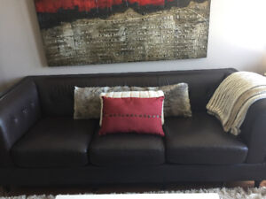 Leather espresso low back 3 seater couch