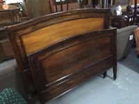 OLD SOLID OAK BED FRAME - SMALL DOUBLE