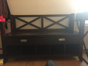 BEAUTIFUL SOLID BENCH- plus storage for shoes and accessories