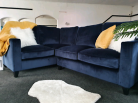 NEW Ruby Navy Blue Velvet Left Hand Corner Sofa DELIVERY AVAILABLE