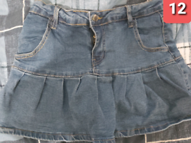Blue demin jeans skirt with bulid in shorts size 12