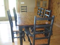 Beautiful Hand Crafted Table with 8 Chairs