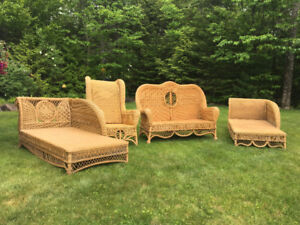 Two Wooden Wicker Lounges, One Couch and One Chair- Estate Sale