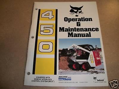 Bobcat 450 Skid Loader Owners Maintenance Manual