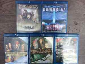 5x Bluray Discs - Lord of the Rings, Independence Day, Pirates