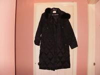 ** NEW !!! NUAGE Women's Down Faux Fur Trim Hooded Long Coat **