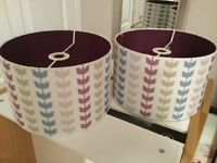 Pair of matching light / lamp shades leaf pattern