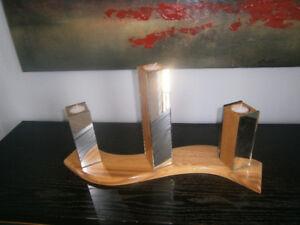 Centre de table en chêne et miroir