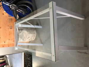 White metal and glass desk