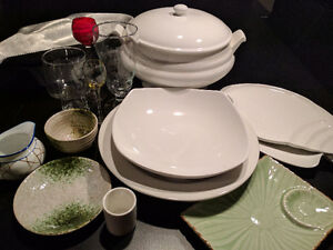 Restaurant dishes, glasses, and serving supplies