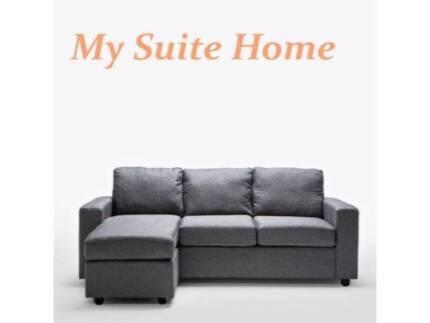 BRISBANE Ella 3seater L Shape Lounge Fabric Sofa